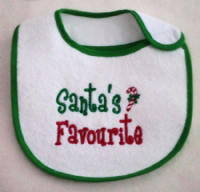 Embroidered Santa's favourite baby bib